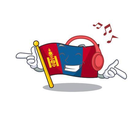 Listening music flag mongolia Scroll mascot cartoon character design. Vector illustration
