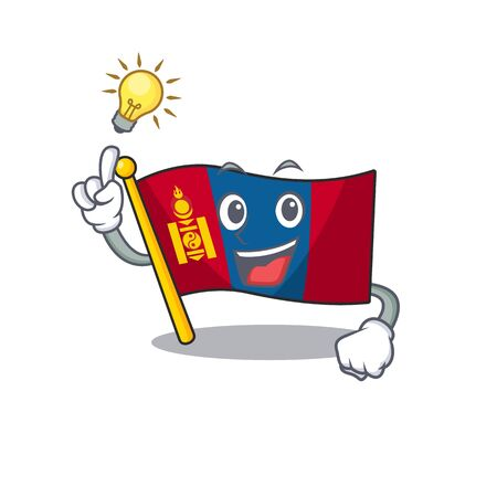 Have an idea flag mongolia Scroll cartoon character design. Vector illustration Illusztráció