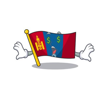 Flag mongolia Scroll with Money eye cartoon character style. Vector illustration