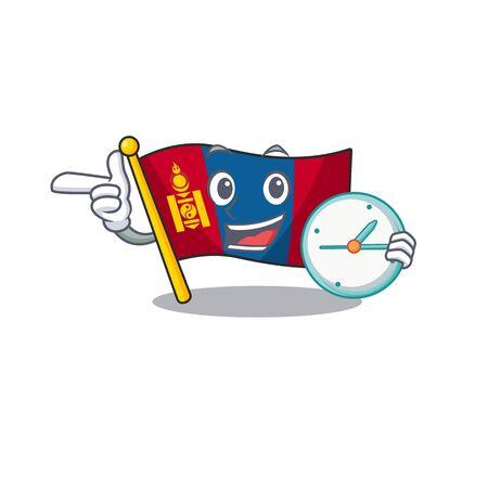 drapeau souriant mongolie Faites défiler le style de personnage de dessin animé avec horloge. Illustration vectorielle