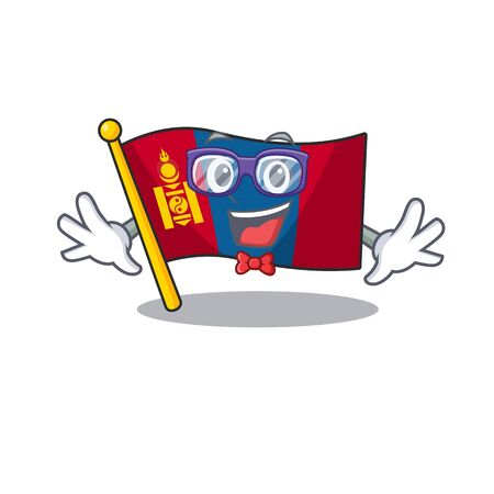 Super Funny Geek flag mongolia Scroll cartoon character design. Vector illustration