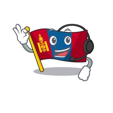 cute flag mongolia Scroll cartoon character design wearing headphone. Vector illustration