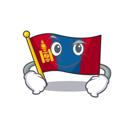 Cool flag mongolie Personnage mascotte de défilement avec un visage souriant. Illustration vectorielle Vecteurs
