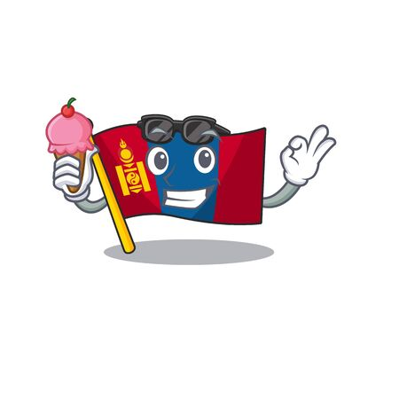 Happy cartoon of flag mongolia Scroll with ice cream