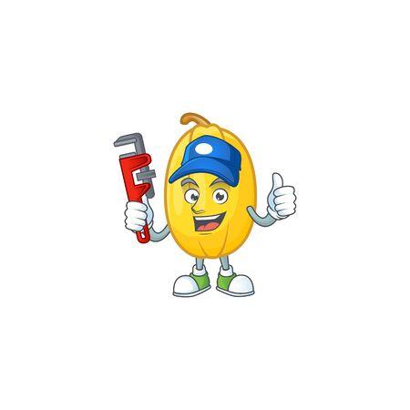 Cool Plumber spaghetti squash cartoon character mascot design
