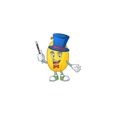 Cartoon character of spaghetti squash performance as a Magician