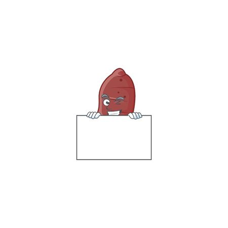 Grinning sweet potatoes cartoon character style hides behind a board. Vector illustration