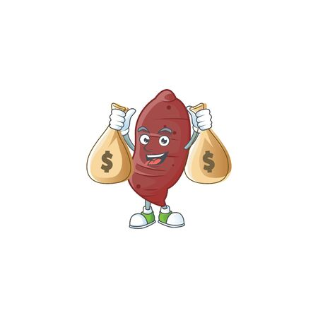 Happy sweet potatoes cartoon character with two money bags. Vector illustration