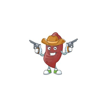 Smiling sweet potatoes mascot icon as a Cowboy holding guns