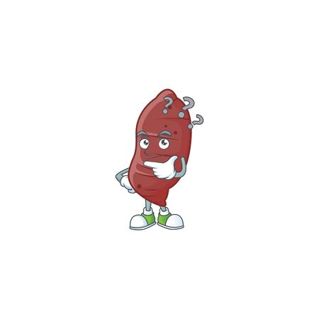 cartoon character of sweet potatoes with confuse gesture