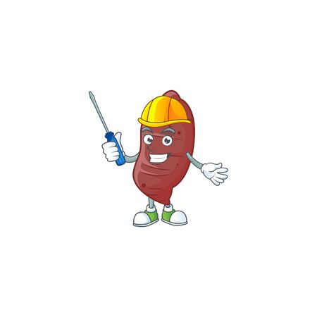 Cute and cool automotive sweet potatoes presented in mascot design