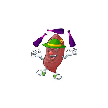 Cute and cool Juggling sweet potatoes cartoon character