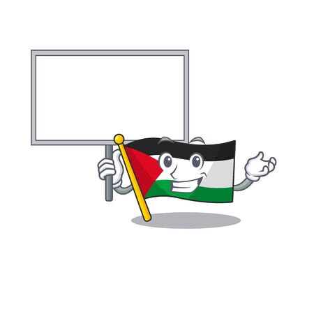 Flag palestine Scroll cute cartoon character bring a board