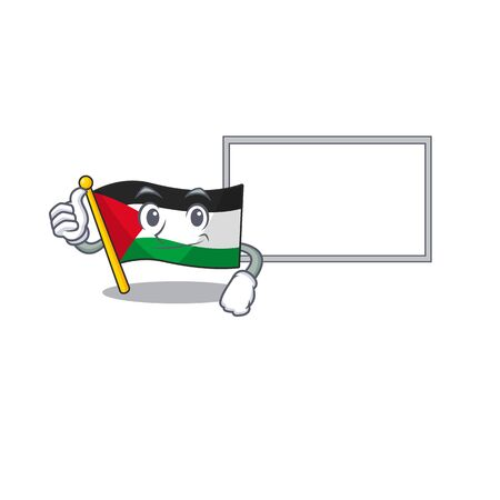 cute flag palestine Scroll cartoon character Thumbs up with board