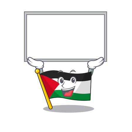 Happy cartoon character flag palestine Scroll raised up board. Vector illustration