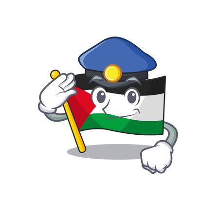 Flag palestine Scroll Cartoon mascot style as a Police officer