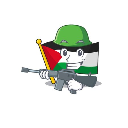 A mascot of flag palestine Scroll Army with machine gun