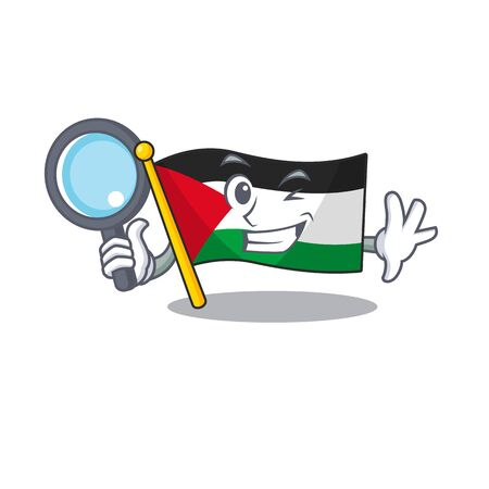 Smart flag palestine Scroll Detective cartoon character design