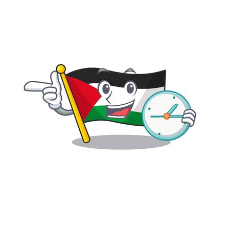smiling flag palestine Scroll cartoon character style with clock