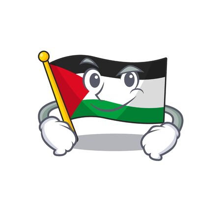 Cool flag palestine Scroll mascot character with Smirking face