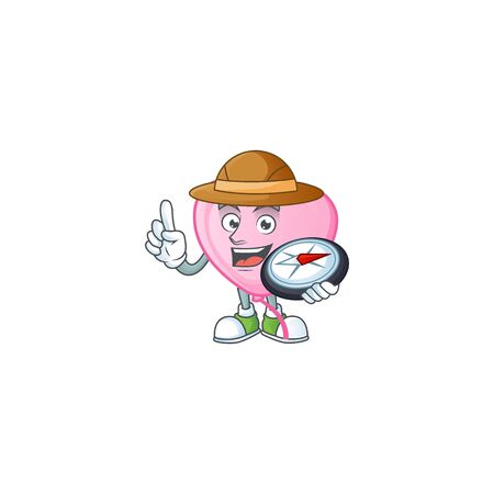 Cool Explorer pink love balloon cartoon character with a compass. Vector illustration