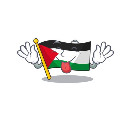 Funny face Flag palestine Scroll mascot design with Tongue out