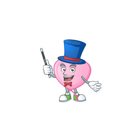 Cartoon character of pink love balloon performance as a Magician. Vector illustration