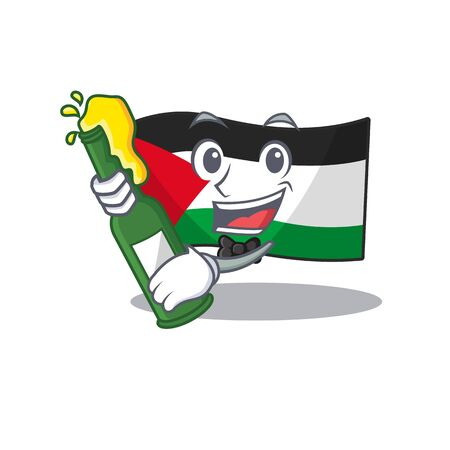 Flag palestine Scroll with bottle of beer mascot cartoon style. Vector illustration