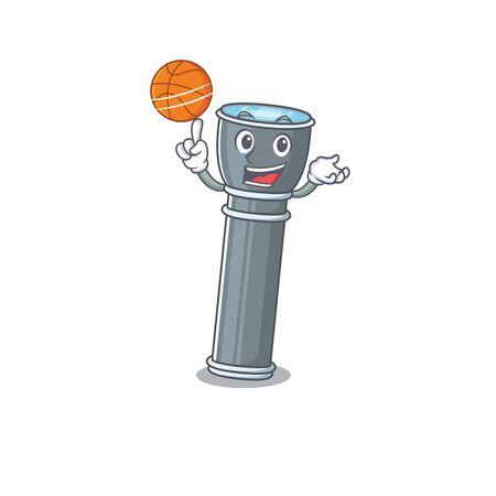 An icon of flashlight Scroll cartoon character playing basketball. Vector illustration