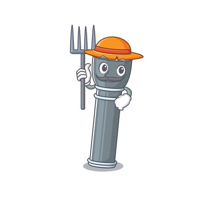 Happy Farmer flashlight Scroll cartoon character with hat and tools. Vector illustration