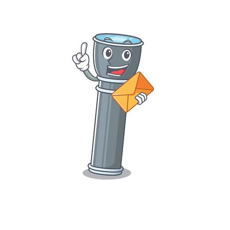Happy face flashlight Scroll mascot design with envelope