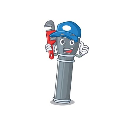 Smart Plumber flashlight Scroll on cartoon character design Vettoriali