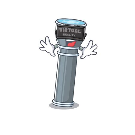cool flashlight Scroll character using Virtual reality headset. Vector illustration