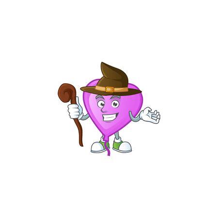 Happy Face Witch purple love balloon cartoon character style. Vector illustration
