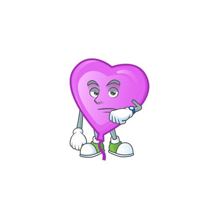 Picture of waiting purple love balloon on cartoon mascot style design. Vector illustration  イラスト・ベクター素材