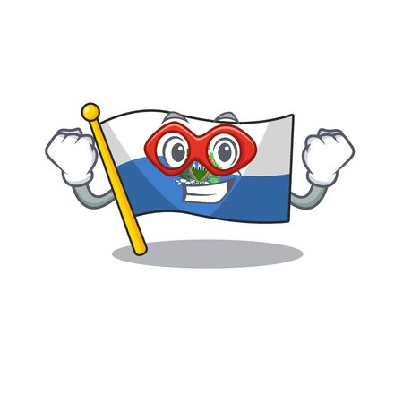 A picture of flag san marino Scroll dressed as a Super hero. Vector illustration 일러스트