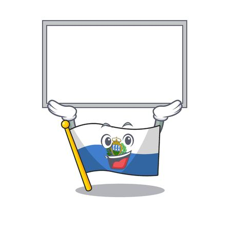 Happy cartoon character flag san marino Scroll raised up board. Vector illustration