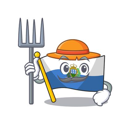 Happy Farmer flag san marino Scroll cartoon character with hat and tools. Vector illustration Stock Illustratie