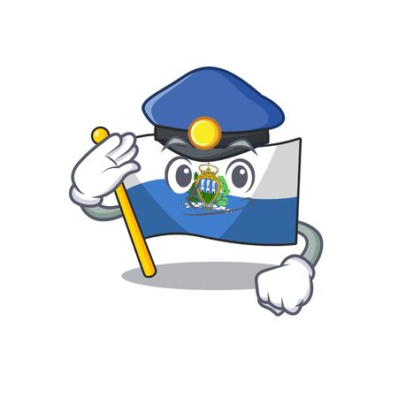 Flag san marino Scroll Cartoon mascot style as a Police officer. Vector illustration