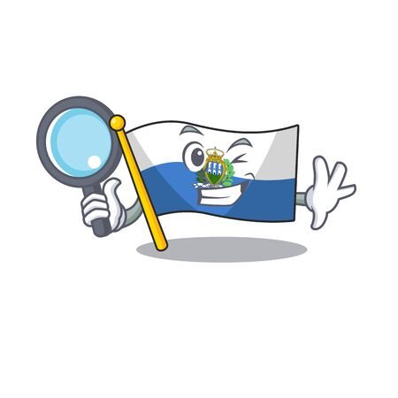 Smart flag san marino Scroll Detective cartoon character design. Vector illustration