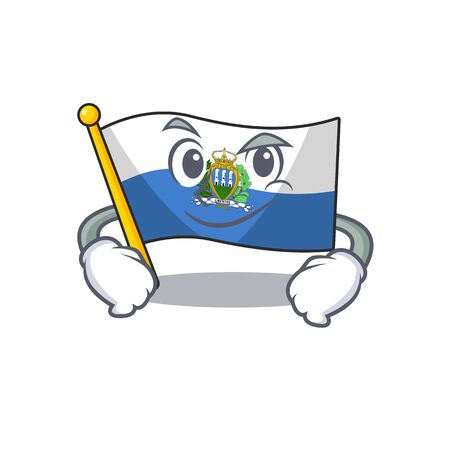 Cool flag san marino Scroll mascot character with Smirking face. Vector illustration