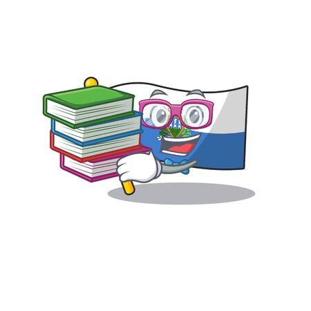 Drapeau étudiant intelligent san marino Faire défiler la bande dessinée de mascotte avec un livre. Illustration vectorielle