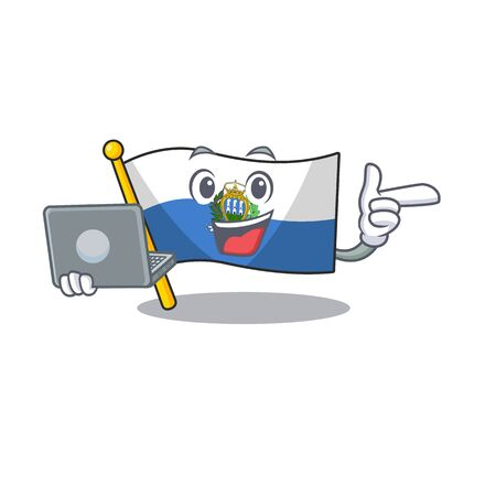 Cute and smart flag san marino Scroll working with laptop. Vector illustration