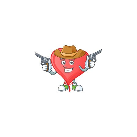 Smiling red love balloon mascot icon as a Cowboy holding guns. Vector illustration