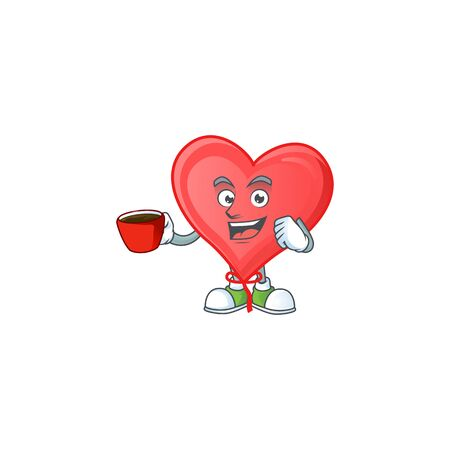 Picture of red love balloon character with a cup of coffee. Vector illustration  イラスト・ベクター素材