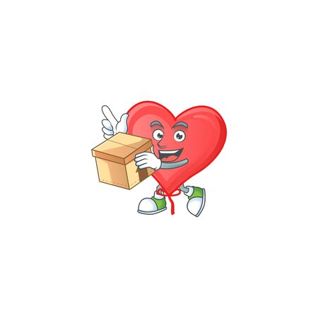 Cute red love balloon cartoon character style holding a box. Vector illustration