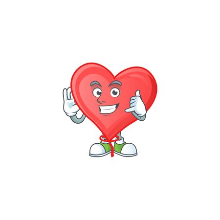 Call me cool red love balloon cartoon character design. Vector illustration