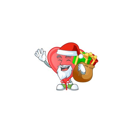 Santa Claus with gift bag red love balloon Cartoon design. Vector illustration