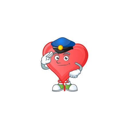 Red love balloon Cartoon in character a Police officer costume. Vector illustration