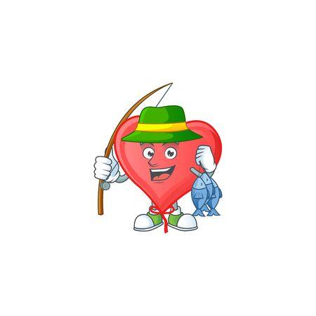 Cheerful face Fishing red love balloon mascot design